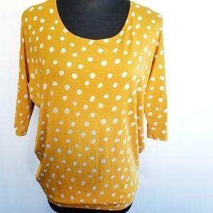 Agnes & Dora dolman tunics XS gold white dots
